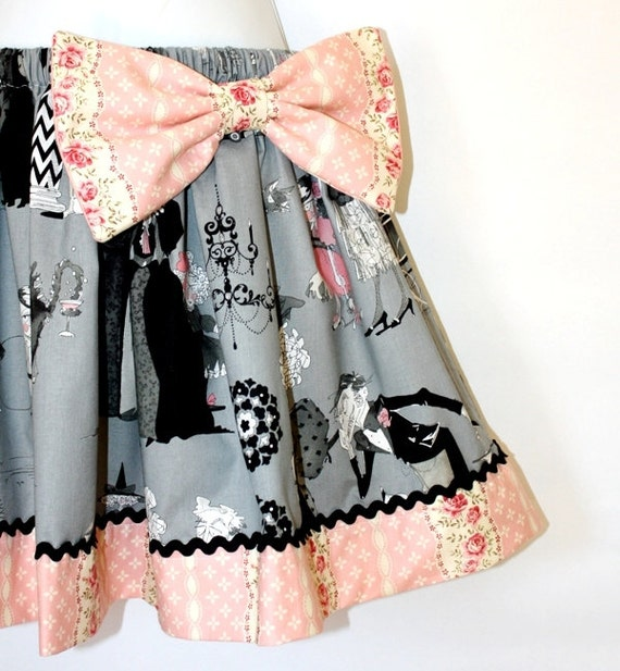 Full Ruffled Gathered Skirt, The Ghastlies, Victorian, Large Detachable Bow
