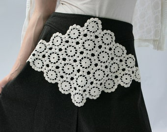 Upcycled Embellished Reclaimed Skirt Charcoal Gray Crocheted White Doily