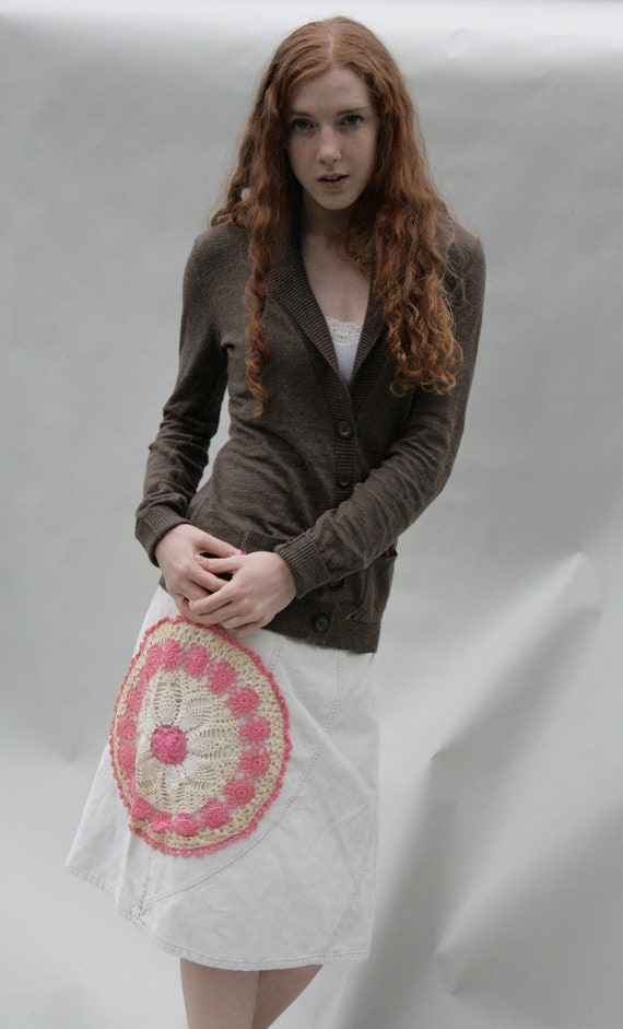 SALE SALE SALE Upcycled Embellished Reclaimed Skirt Corduroy Crocheted Doily Mandala