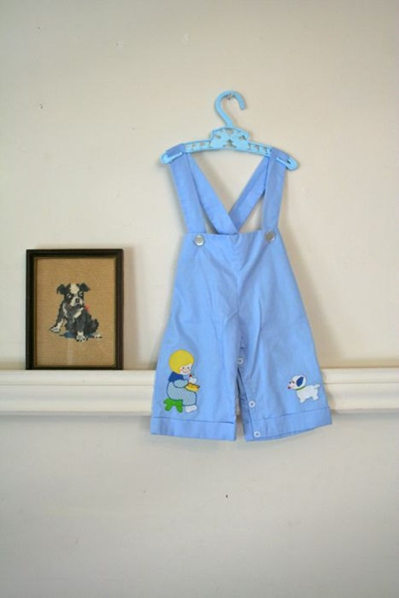 SALE // vintage boys suspender shorts - SNACK TIME applique overalls / 3-6m (low domestic shipping)