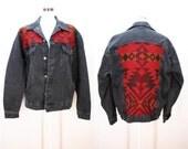 vintage  pendleton Mexican blanket aztec black Denim JEAN Boyfriend Jacket GRUNGE
