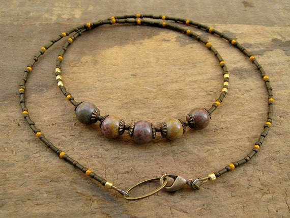 Earthy Jasper Necklace, everyday necklace, simple rustic necklace with jasper in brown, orange, and gold