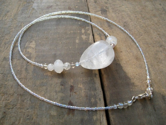 Quartz Necklace, quartz crystal necklace with a pretty iridescent shimmer, white stone pebble necklace
