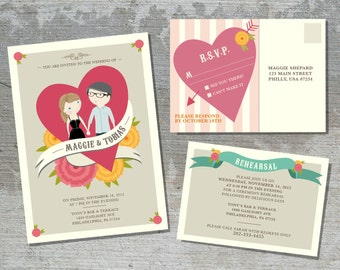 Wedding Invitation Suite Custom Cartoon printable design - Jamboree design