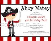 Pirate Birthday Invitation - Printable or Printed - Boy Girl Pirate Party Invitations - Pirate Party Supplies and Birthday Decorations