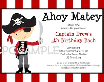 Pirate Birthday Invitation - Printable or Printed - Boy Girl Pirate Party Invitations - Pirate Party Supplies and Birthday Decorations