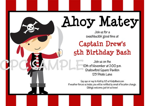 Pirate birthday invitations – Free Pirate Party Invitations