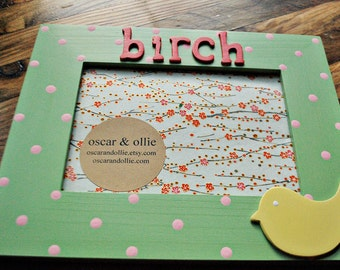 Bird picture frame Personalized frame for children Childrens photo frame