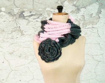 Infinity Loop Circle Scarf Pink Grey Hand Knitted Color Block Cowl