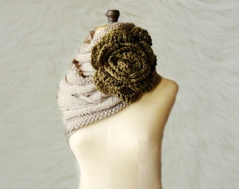 Cabled Cowl, Knit Infinity Scarf, Knitted Loop Circle Scarf with Huge Flower Pin Brooch