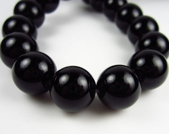 Black Agate 14 mm Rounds