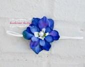 baby headband, newborn headband, small flower headband, infant headband, blue flower