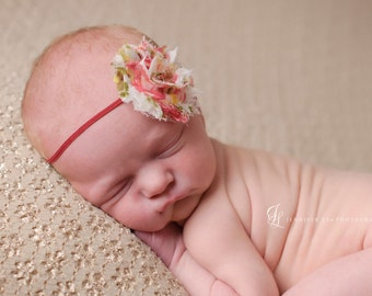shabby chic baby headband, flower baby headband, red