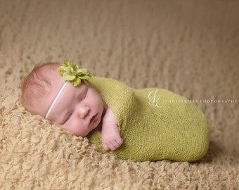 baby headband, green small Flower headband, vintage baby headband,