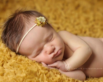Newborn Headband, Baby Headband, Gold and Brown Petite Small flower headband on Skinny Stretch Elastic, PHOTOGRAPHY PROP