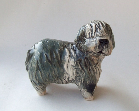 Old English Sheepdog Hand Built Ceramic Sculpture