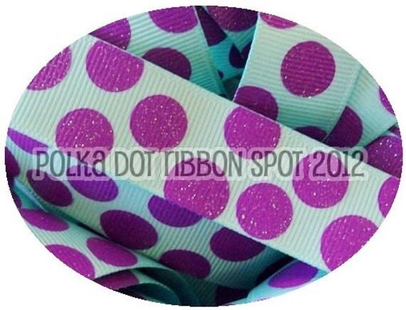 Ribbon Sale 5 yards- 7/8 inch Aqua & Grape Sparkle Dots printed grosgrain ribbon