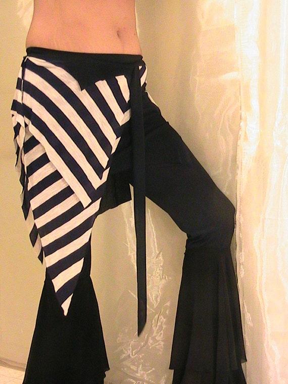 Tribal Belly dance Seaweed skirt, panel skirt , hip apron in Dark Blue and White stripes SM-MED