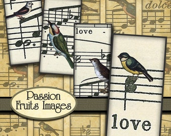 Songbirds- Sheet Music and Birds Digital Collage Sheet Bamboo Sized Images
