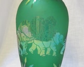 Vintage Arthur Court etched green glass elephant vase