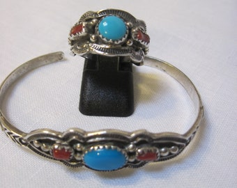 Vintage matching turquoise and coral ring and bracelet