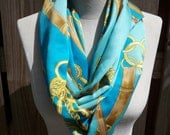 HERMES inspired blue gold upcycled graphic print pure 100% silk infinity scarf