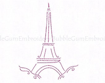 J'adore Paris Redwork Embroidery Designs Instant Download