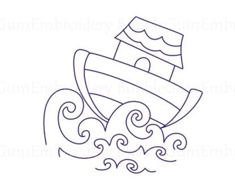 Bluework Noah's Ark Embroidery Design Instant Download