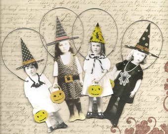 4 HALLOWEEN Witches Trick or Treat Paper Ornaments Altered Art