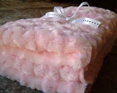"""Reversible Pink Minky and Baby Animals Print  Baby Blanket Appox. 26"""" x 32"""""""