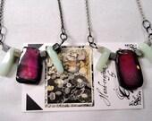 Pink Agate, Eagle Eye and Amazonite Stone Necklace