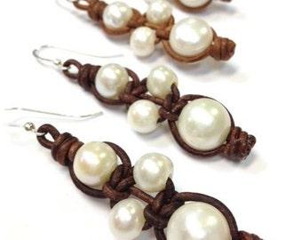 Quality Leather Pearl Earrings - Genuine Freshwater Pearl Made in USA (RumPai-NP)
