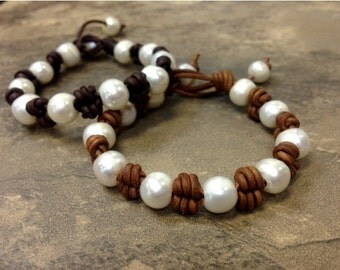 Pearl and Leather Bracelet - WiPa