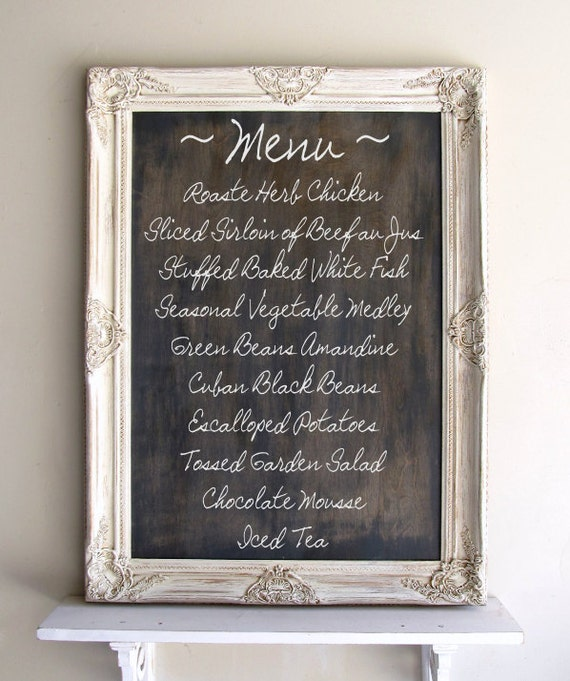 Chalkboard Sign RUSTIC WEDDING Sign Framed CHALKBOARD Vintage Wedding French Country Chalk Board Menu Decoration Ornate Old World