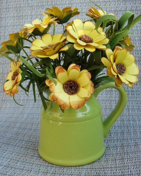 Paper Flower Yellow Daisy Paper Flower arrangement  in lime green ceramic  Pitcher Perfect gift 1 anniversary