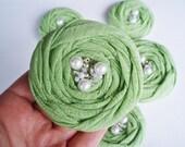 Green Cotton Roses Handmade Appliques Embellishments(5 pcs)