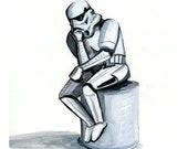 Stormtrooper as The Thinker, original painting 8x10