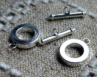10pcs Clasp Toggle 15mm Round Silver-Finished Brass