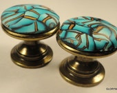 8 Polymer Clay Cabinet Knobs/Pulls      20 AVAILABLE  Beautiful Bronze Teal