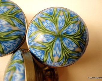 Cabinet Knobs Pulls  unique handmade  Metal furniture knob  Polymer Clay  8 Kaleidoscope  drawer knobs  OCEAN BLUE and Green