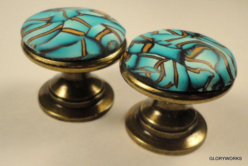 Polymer Clay Cabinet Knobs Pulls Beautiful Bronze Teal