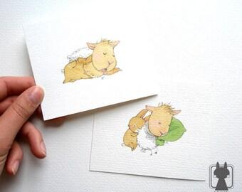 Sleeping couple - rabbit bunny and sheep - sleep pictures - original art - set of 2