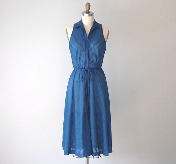 Vintage Summer Dress / 1980s Blue Sleeveless Shirt Dress / Sheer Azure