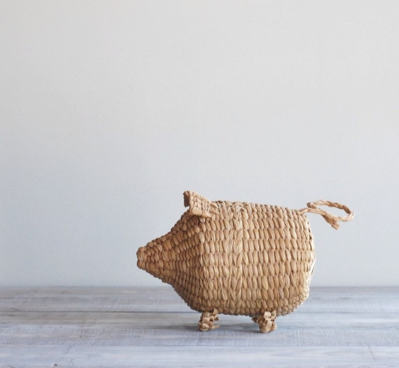 Vintage Piggy Bank Basket / Woven Wicker Pig