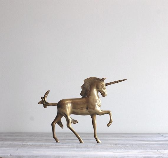 Vintage Brass Unicorn Figurine