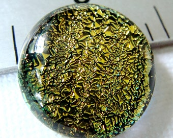 Fused Dichroic Glass Cabochon 16 mm Yellow Gold