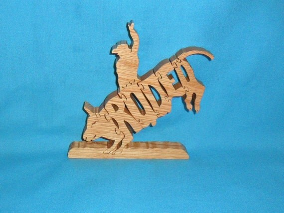Rodeo Bull Rider Wooden Scroll Saw Puzzle