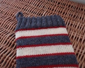 Hand-Knit Traditional Christmas Stocking: Heather-blue, Red and Cream bands