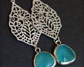 Chandleier Earrings with Lagoon Blue Sea Glass