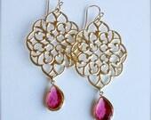 Gold Chandelier Earrings-Garnet Glass-Bridesmaid Earrings